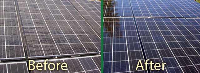 voor en na reiniging zonnepanelen